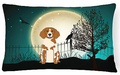 Halloween Scary Brittany Spaniel Canvas Fabric Decorative Pillow