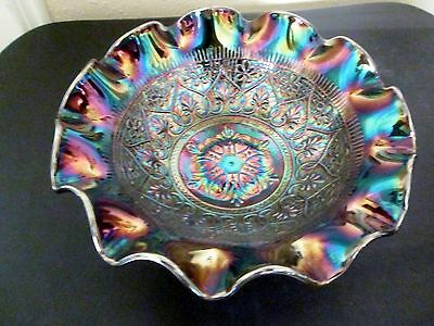Fenton Carnival Glass Amethyst Hearts And Flowers Bowl Electric
