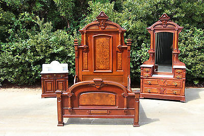 Spectacular High Style Walnut Victorian 3Pc Marble Top Bedroom Set ~Ca.1870