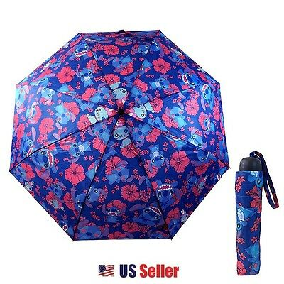 Disney Lilo and Stitch All Over Print Folding Umbrella with Multicolored Flowers