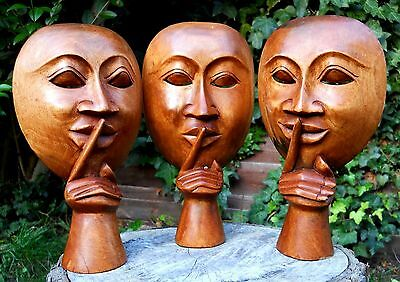 Wooden Mask Venetian type Carnival 'Be Quiet' Funny Home Decoration 25 cm