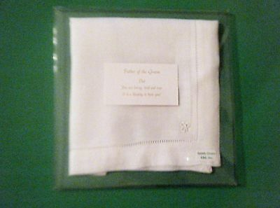 Irish Linen Wedding Hanky For Father Of The Groom Embroidered Shamrock New.