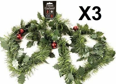 3 X 6Ft 1.8M Green Holly Christmas Xmas Tinsel Garland With Baubles 18Ft Total