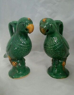 19th Century Large Chinese Parrot Handled Incense Burners - Fiance Majolica