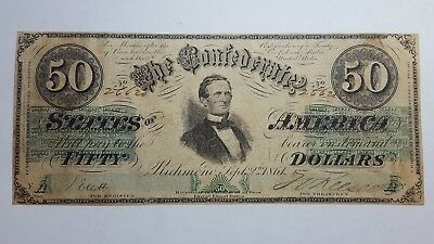 1861 Confederate States of America $50 Banknote Green Print Nice Scarce Note #5