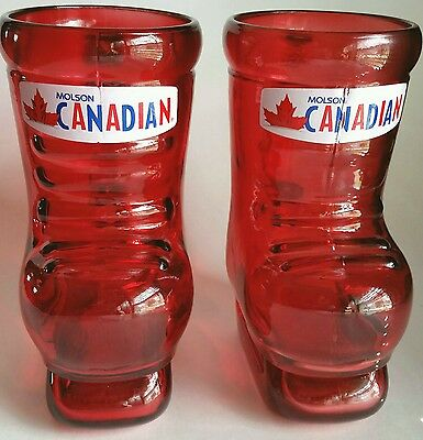Molson Canadian Set of Two 32oz Red Hockey Skates Beer Stein Mug Glass 7.5""