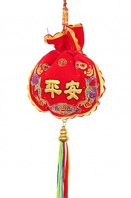 Feng Shui Chinese Pouch Shaped Safety Charm with 5-Color Tassels and Strings