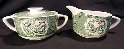 NEW - Sugar and Creamer - Royal (USA) - The Old Curiosity Shop -Green-Underglaze