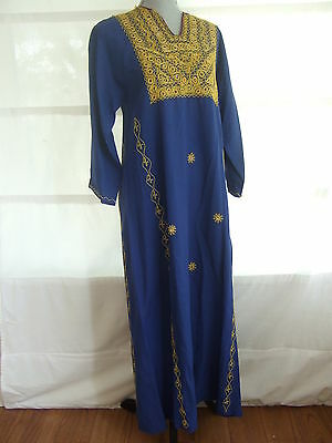 VTG Palestinian Blue Gold Embroidered Thob