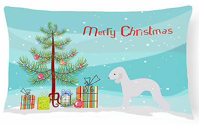 Bedlington Terrier Merry Christmas Tree Canvas Fabric Decorative Pillow