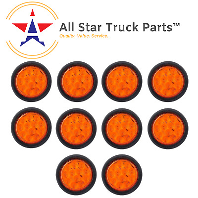 """4/"""" Inch Amber 12 LED Round Signal Turn Truck Light w// Grommet /& Wiring-Qty 2"""