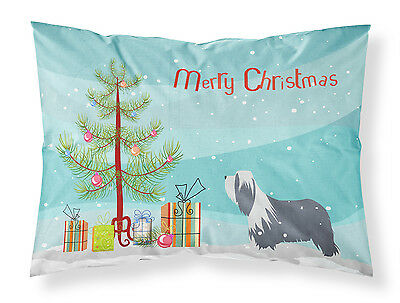 Bearded Collie Dog Merry Christmas Tree Fabric Standard Pillowcase