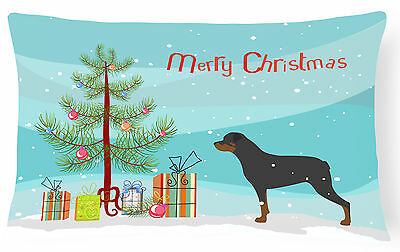 Rottweiler Merry Christmas Tree Canvas Fabric Decorative Pillow