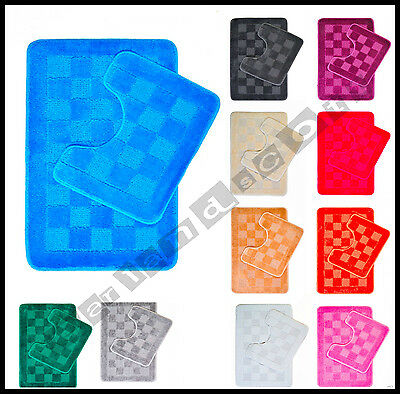 100% Cotton Heavy 2 Piece Bath Mat Pedestal Bathroom Toilet Set