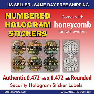 250 Round Hologram Warranty Void Security Labels Stickers Seals W/ Number