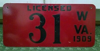 1909 West Virginia License Plate **REPRODUCTION** Heavy Duty Made Low Number