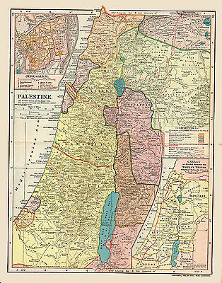 1903 Color Map of PALESTINE under TURKISH Control-Insets - JERUSALEM & 12 TRIBES