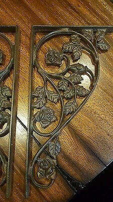 Cast Iron Antique Style Roses & leaves Brackets, Furniture Braces Shelf Bracket