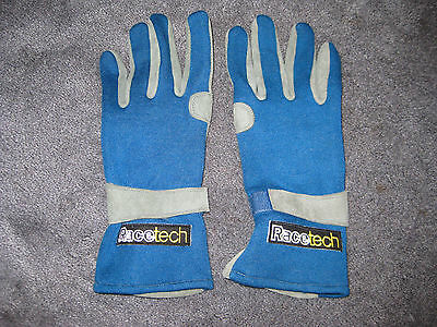 Racetech Racing Gloves Blue ISO 6940 FIA 86 Size Large 10