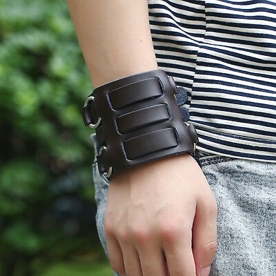 Mens Cowboy Punk Genuine Leather Metal Ring Buckle Bracelet Wristband Cuff