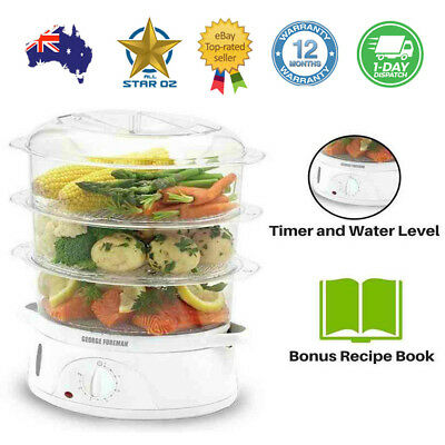 Vegetable Steamer Food Steaming Machine Fish Eggs Veg Compact George Foreman NEW