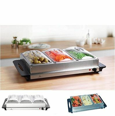300w Stainless Steel 3x 2.4L Pan Large Buffet Food Server Warmer Hot Plate Tray