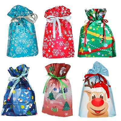 GiftMate Drawstring Gift Bags Choice of Christmas Designs and Sizes Set Of 6