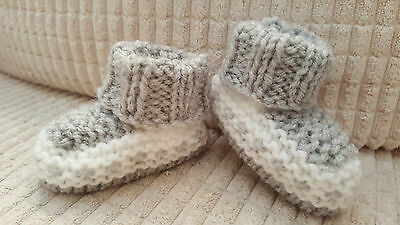 Baby Boys Hand Knitted Boots / Booties - 0-3 Months - Grey / White