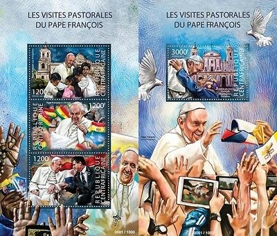 Z08 CA15306ab CENTRAL AFRICA 2015 Pope Francis mint never hinged MNH SET