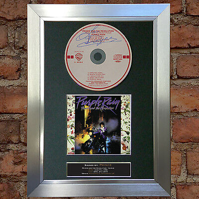 PRINCE Purple Rain Album Signed Autograph CD & Cover Mounted Print A4 no74