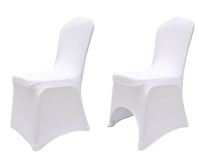 Flat and Arched Front Wedding Chair Covers Elasticated White Spandex / Lycra