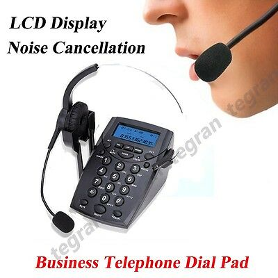 Office Call Center Telephone With Corded Headset Hands Free Dial Pad LCD Display