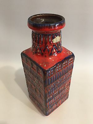 FAT LAVA Vase Bay 7025 West Germany Pottery WGP Blue Red 70s 70er Design