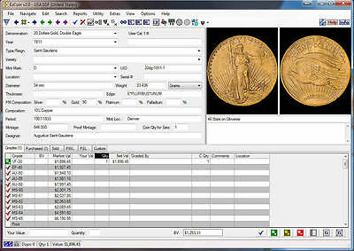 EzCoin USA 1793-2016 Coin Inventory Software, Values+Images+Great Reports+Images