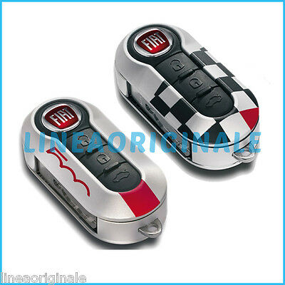 2 Cover ORIGINALE Fiat 500 kit set chiavi sport a scacchi tuning 71805963 new