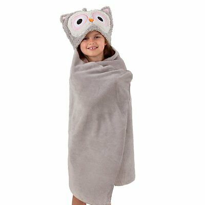 Aroma Home Kids Cosy Up Animal Hooded Fleece Blanket & Travel Pillow: GREY OWL