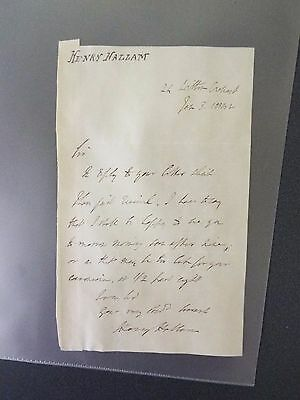 Henry Hallam - English Historian - Signed Letter