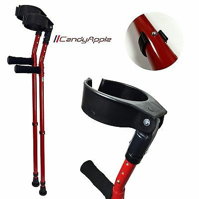 Vilgo 'Style' Closed Cuff Double Adjustable Colourful Crutches (Candy Apple)