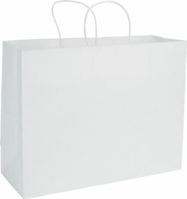 """250 White Gift Merchandise Paper Bags Shoppers Vogue 16 x 6 x 12 1/2"""" - 29-9M -"""