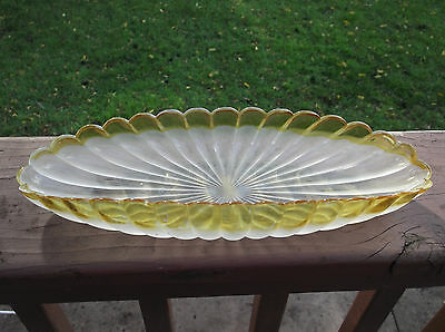 "Amber Stained /Frosted Hobbs Francesware 12 1/2"" Relish / Celery Tray"