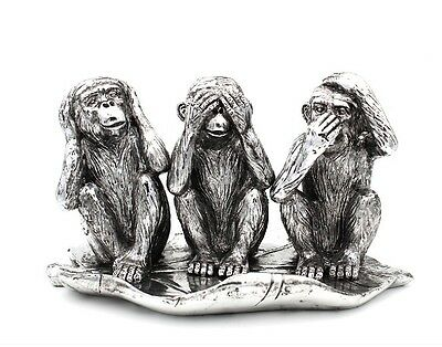 Silver Art 3 Wise Monkeys By Leonardo Brand New in Box - Monkey Statue lp36