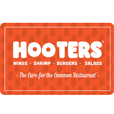 Hooters Gift Card - $25 $50 or $100 - Email delivery