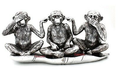Silver Art 3 Wise Monkeys By Leonardo Brand New in Box - Monkey Statue lp37