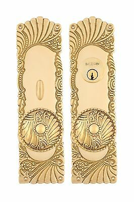 Roanoke Floral Doorknob Entry Plate Set Antique Copper & Brass
