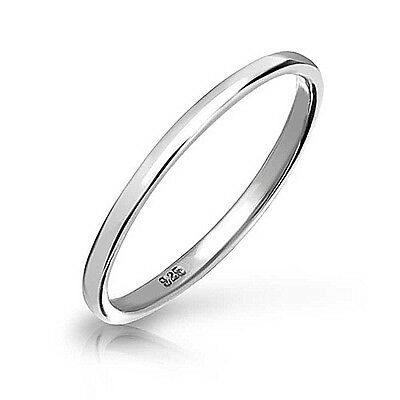 Solid .925 Sterling Silver Plain 2mm Thin Skinny Band middle finger Thumb Ring