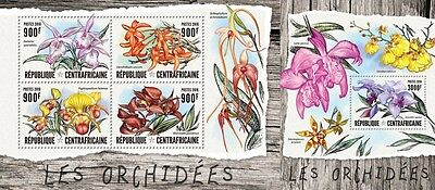 Z08 IMPERFORATED CA16405ab CENTRAL AFRICAN REPUBLIC 2016 Orchids MNH Set