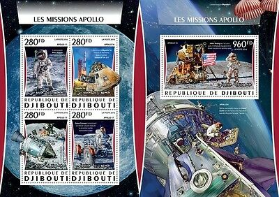 Z08 IMPERFORATED DJB16318ab DJIBOUTI 2016 Apollo Missions MNH Set