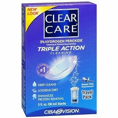 Clear Care Triple Action Cleaning Solution, 3 oz EXP 04/2017 DamagedBox