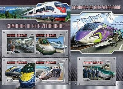 Z08 Imperforated GB16307ab GUINEA-BISSAU 2016 Speed trains MNH Set