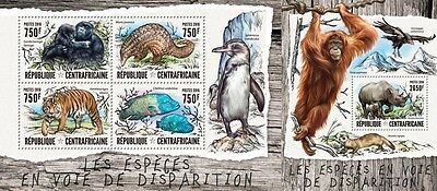 Z08 IMPERFORATED CA16408ab CENTRAL AFRICAN REPUBLIC 2016 Endangered species MNH